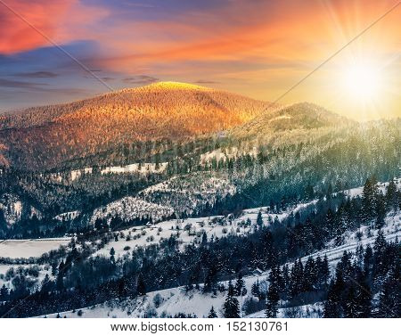 Sunset In Winter Carpathians