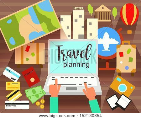 Travel Planning flat vector illustration. Prepairing for journey. Searching, booking. Objects and Icons. Eps 10
