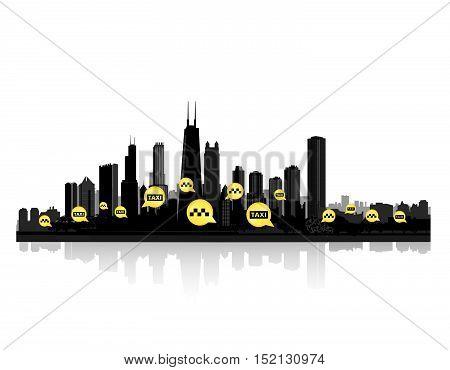 Taxi service header. Taxi sign city background. Call taxi pointer cityscape concept
