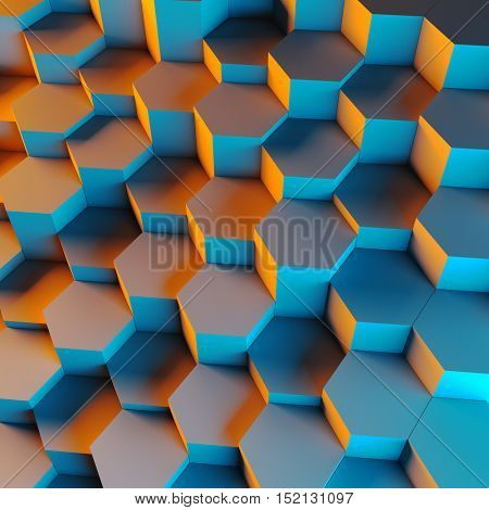 3d rendering of hexagon geometric background