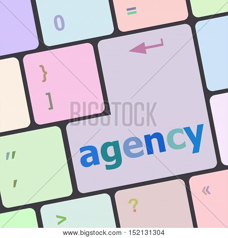 Advertising Concept: Computer Keyboard With Word Ad Agency