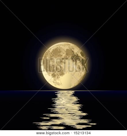 full moon under water