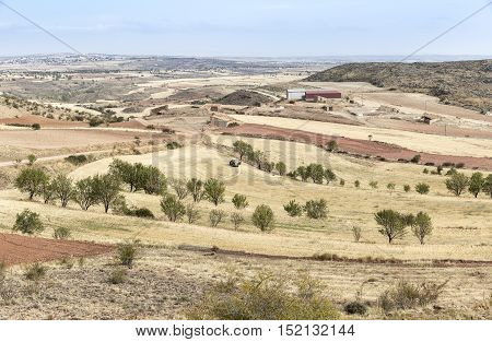 dry landscape with harvested fields on a summer day in Monforte de Moyuela, Teruel, Spain