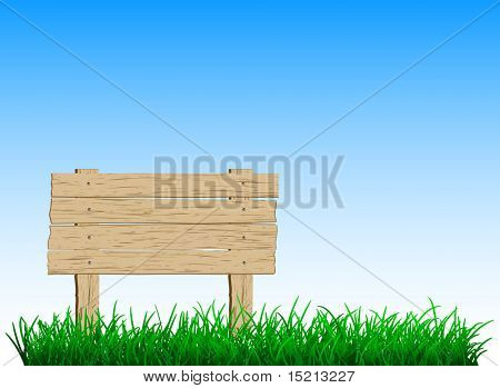 wooden sign on green grass