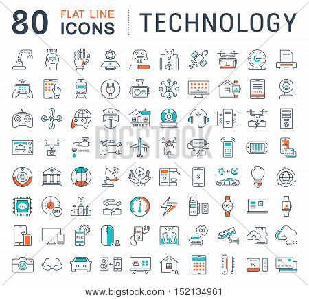 Set vector line icons in flat design technology electric car smart city house internet of things online payment. Elements for mobile concepts. Collection modern infographic logo and pictogram.