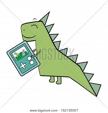green dino animal toy with portable game over white background. drawn design. vector illustration