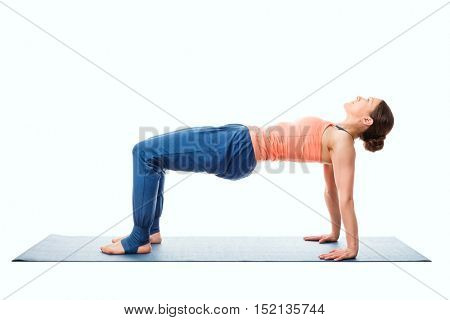 Woman doing Ashtanga Vinyasa Yoga asana Purvottanasana - upward-facing plank pose posture easy variation isolated on white background