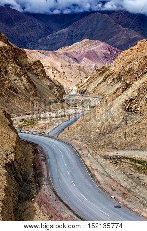 Srinagar Leh national highway NH-1 road in Himalayas. Ladakh, India
