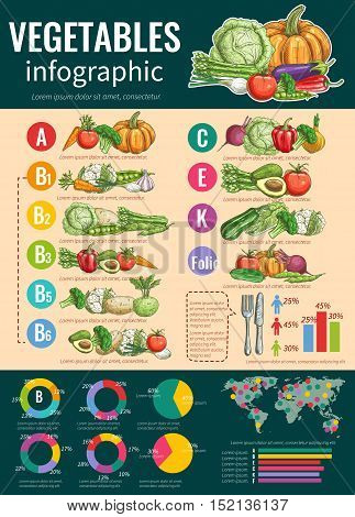 Vegetables infographics design template with list of fresh vegetables and their vitamin content, healthy food and diet nutrition tips, pie charts and world map with text layout