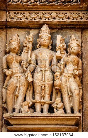 Famous stone carving sculptures, Vishvanath Temple, Khajuraho, India. Unesco World Heritage Site