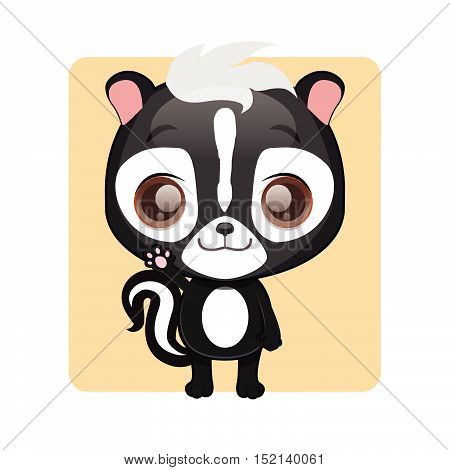 Cute skunk illustration art with simple background