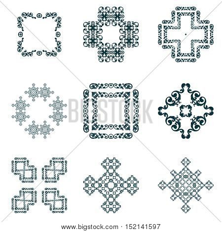 Set of abstract frame and decorative elements, black colored.Each of them group singly.
