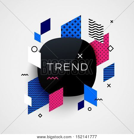 Trendy vector background. Different geometric patterns and shapes. Design template for brochure, presentation or banner. Trend label.