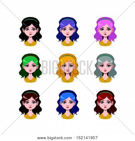 Long Haired Girl With Headband - 9 Different Hair Colors