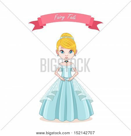 Illustration of cinderella girl holding a glass shoe