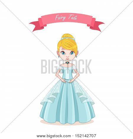 Illustration of cinderella girl holding a glass shoe