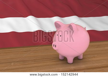 Latvia Finance Concept - Piggybank In Front Of Latvian Flag 3D Illustration