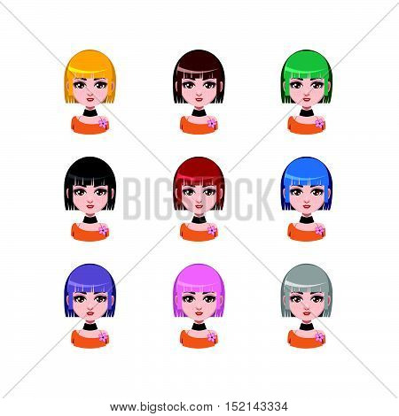 Casual girl with medium length hair - 9 different hair colors ( flat colors )