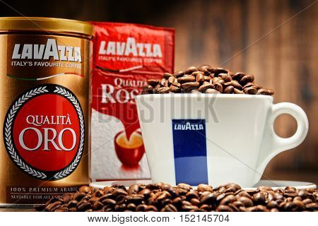POZNAN POLAND - OCT 12 2016: Lavazza is an Italian manufacturer of coffee products It was founded in Turin in 1895 by Luigi Lavazza.