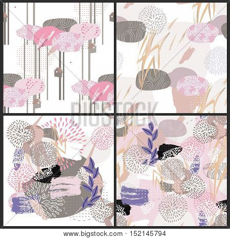 Abstract floral elements paper collage set.Vector illustration hand drawn.Sketch ready for contemporary scandinavian flat design- poster, invitation, post card, t-shirt design pattern.