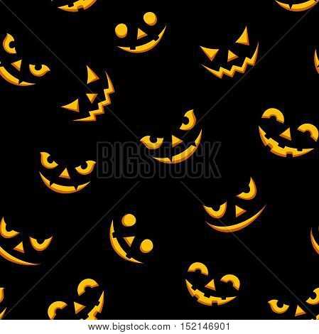 Vector seamless pattern with lit Jack-O-Lantern faces on a black background.