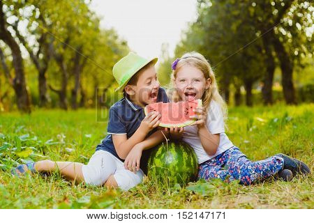 Funny kids eating watermelon. Child Healthy Eating.