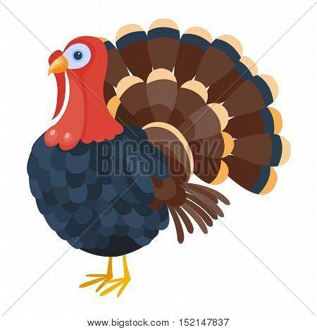 Cute cartoon turkey vector illustration. Cartoon turkey isolated on background. Turkey, bird, farm bird animal. Vector turkey farm animal. Cute turkey vector illustration. Turkey vector isolated