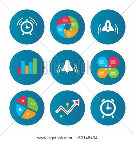 Business pie chart. Growth curve. Presentation buttons. Alarm clock icons. Wake up bell signs symbols. Exclamation mark. Data analysis. Vector