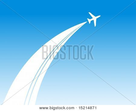plane in blue sky background