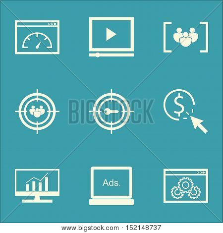 Set Of Marketing Icons On Website Performance, Focus Group And Ppc Topics. Editable Vector Illustrat