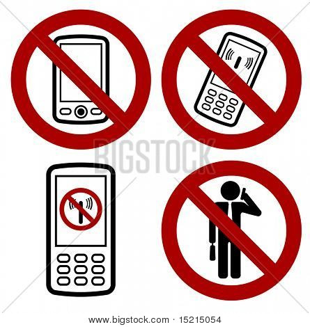sign with forbidden mobile phone icon
