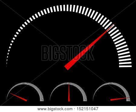 Speedometer Or Generic Meters, Gauges With Red Needle