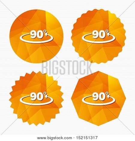 Angle 90 degrees sign icon. Geometry math symbol. Right angle. Triangular low poly buttons with flat icon. Vector