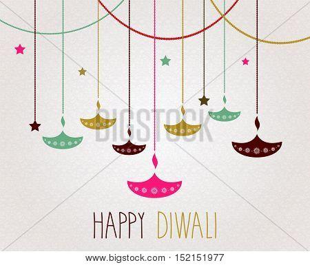 Diwali. Hanging colorful diya. Handwritten text. Vector illustration.