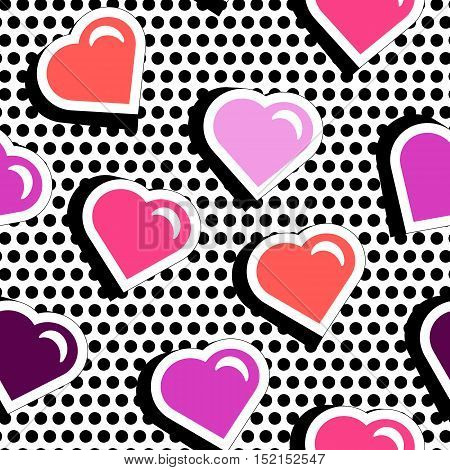 Pop art stile repeating texture with red hearts. Seamless pattern with colorful badge shape hearts on black dotty background. Vector illustration with heart stickers in cartoon 80s-90s comic style.