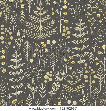 Seamless Christmas pattern with leaves, branches, berries and pine cones. Vector floral illustration with hand-drawn design element and golden foil for Christmas and New Year.