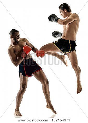 Muay Thai kickboxing kickboxer boxing men isolated
