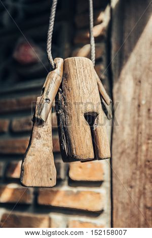 Old Wooden Cowbell Hanging On The Wall, Traditional Thailand Cowbells