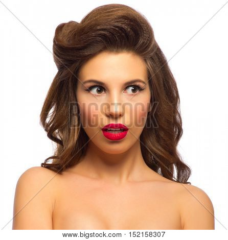 Pinup portrait of young woman isolated