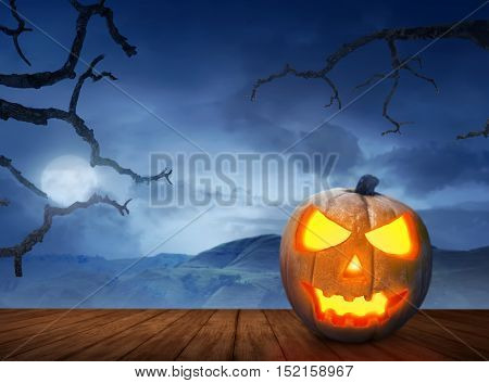Halloween Pumpkins On Wood Floor In A Scary Hill