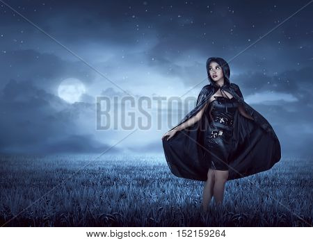 Beautiful Witch Woman With Cloak Hood
