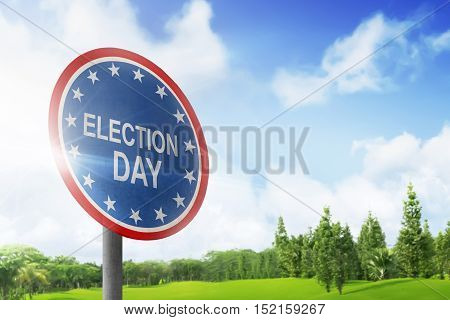Road Sign Announcing Election Day