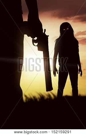 Silhouette Of Man With The Red Eye Zombie