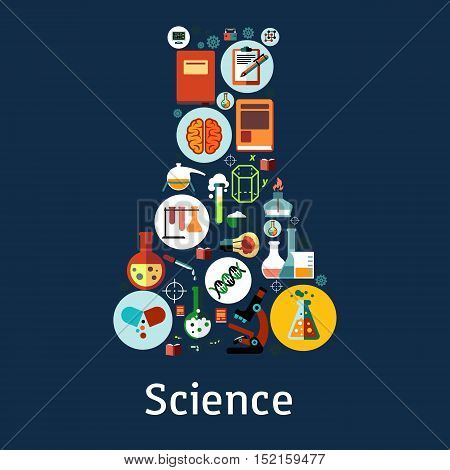 Science research icons in a shape of a laboratory flask with microscope, book, test tube, brain, computer, DNA, battery, idea light bulb, gas burner