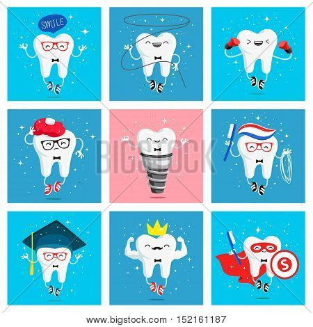 Set of funny icons of teeth. Vector illustration. Concept of children's dentistry. Excellent dental card. Cute character.