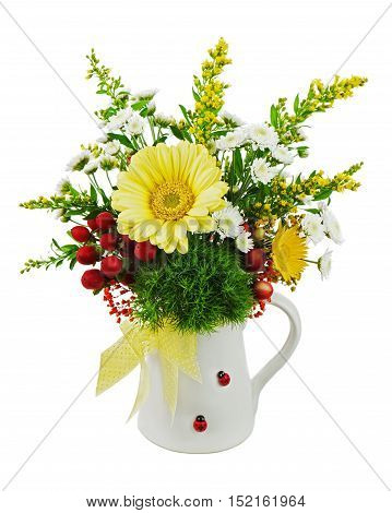 Colorful bouquet from gerberas in vase isolated on white background. Closeup.