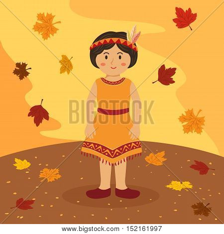Illustration of thanksgiving greeting card with a short hair native american Indian girl on autumn background.