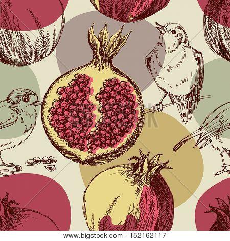 Pomegranate pattern. Cute seamless pattern pomegranates and birds