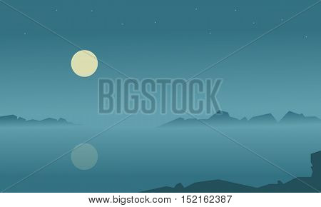 Silhouette of lake at night vector flat illustration