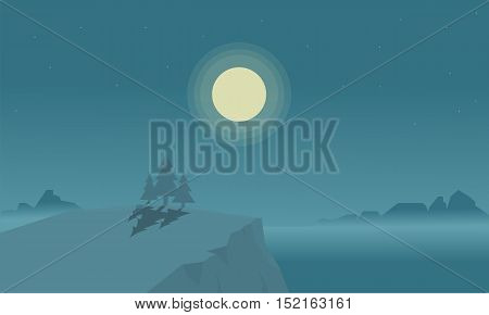 Silhouette of cliff and lake at night vector illustration